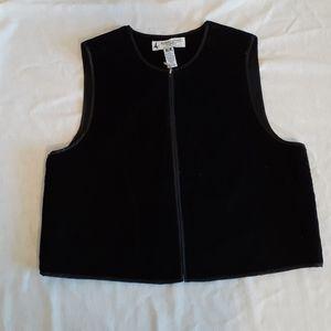 Vintage Marsh Landing black velvet zip up vest